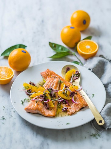 Trout fillets with orange and olive salsa