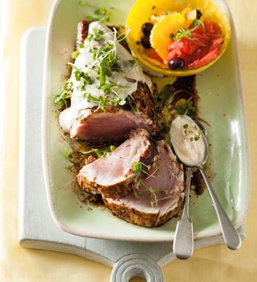 Balsamic-seared tuna with orange and grapefruit salad