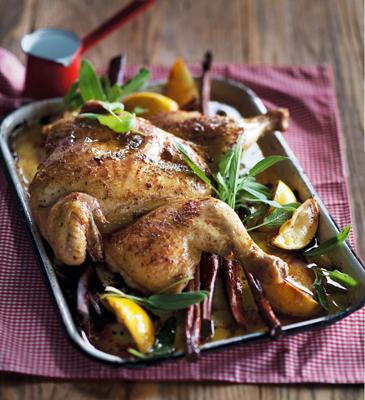 lemon cinnamon spatchcock chicken